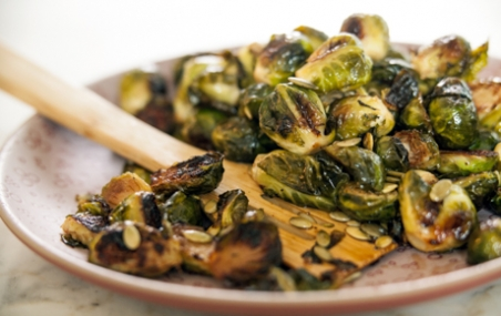 Maple-Roasted Brussels Sprouts with Pumpkin Seeds