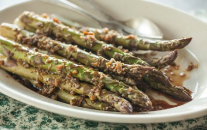 Roasted Asparagus with Sesame, Chile and Garlic