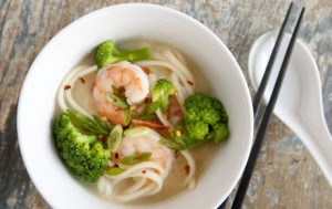 Miso Soup with Shrimp and Broccoli