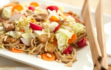 Peanutty Udon Noodle and Tofu Salad