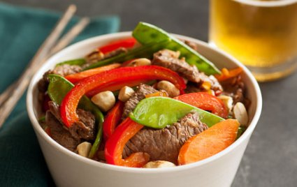 Beef Stir-Fry with Bell Peppers, Carrots and Snow Peas