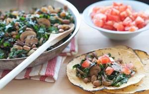 Mushroom, Chard and Caramelized Onion Tacos