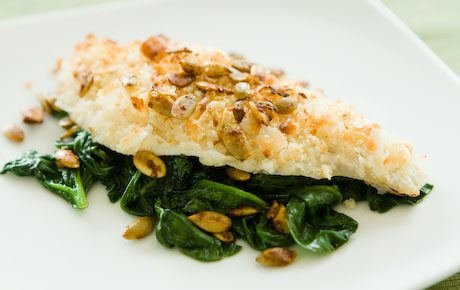 Coconut Crusted Haddoc with Curried Pumpkin Seeds