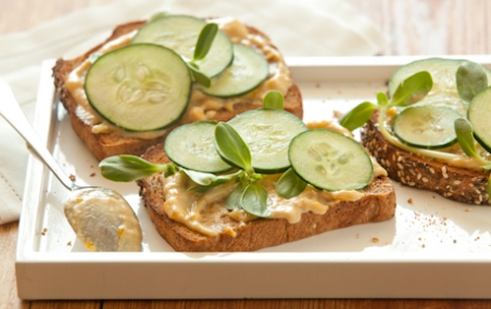 Open Face Cucumber and Tahini Sandwiches