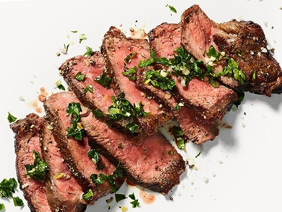 image of new york strip steak with chimichurri