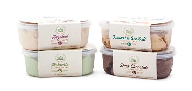 Whole Foods MarketTM Italian Gelato. Dark Chocolate, Hazelnut, Pistachio or Caramel & Sea Salt.