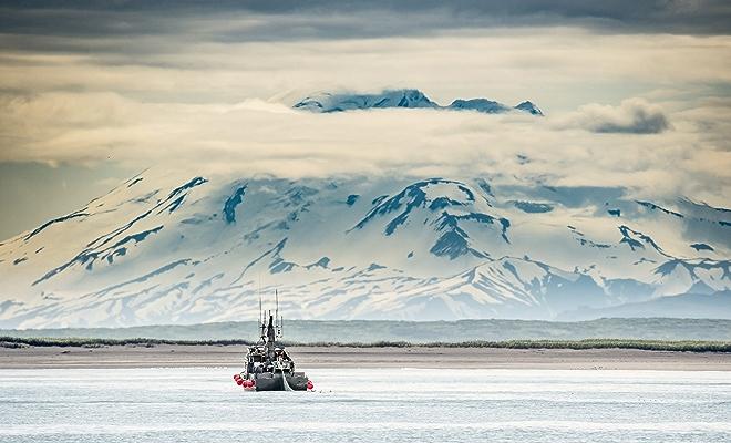 sockeye salmon fishing boat in alaska's bristol bay