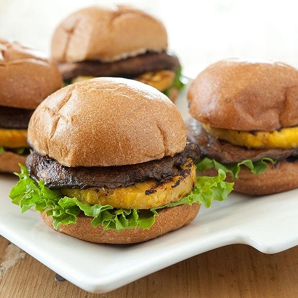 Portobello and Pineapple Teriyaki Veggie Burgers