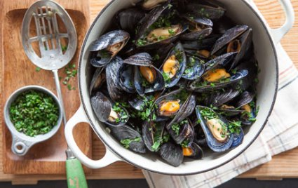 Beer Braised Mussels