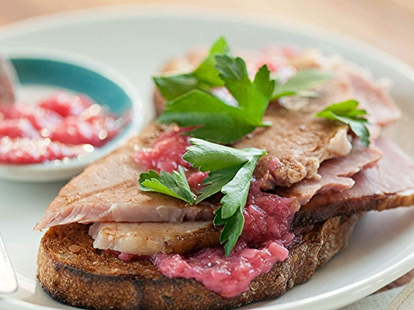 Ham and Rhubarb Jam Toasties