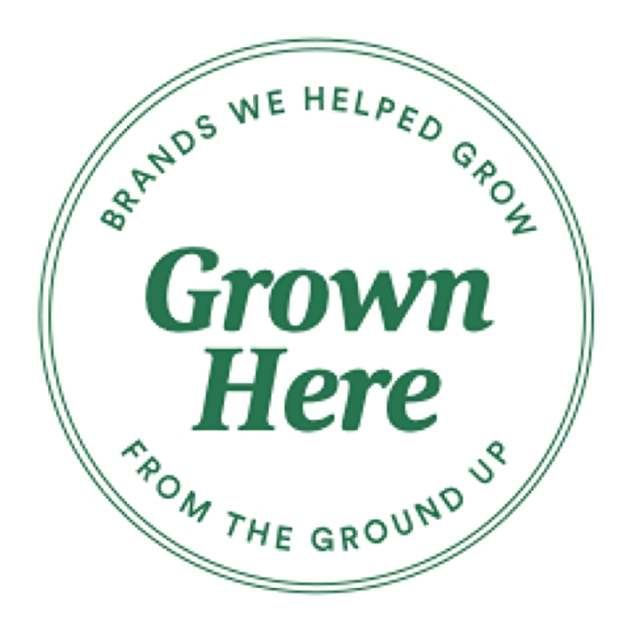 logo with green text that says grown here: brands we helped grow from the ground up