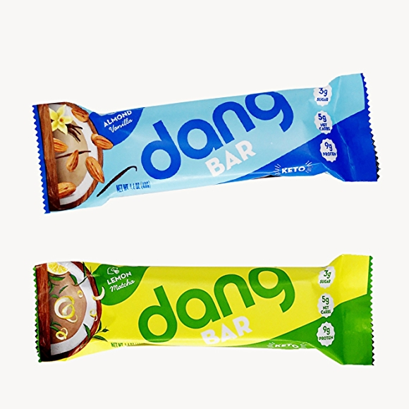 Dang bars in packages, almond vanilla and lemon matcha flavors