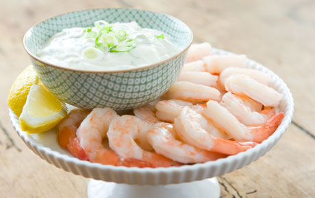 Shrimp Cocktail with Creamy-Spicy Green Onion Dipping Sauce