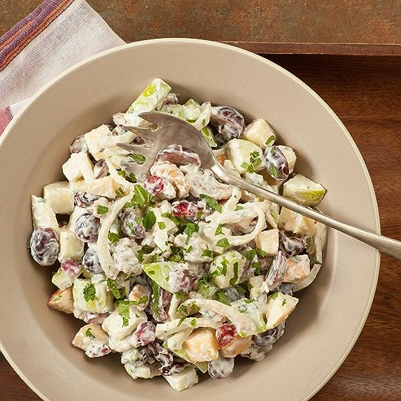 Waldorf Salad with Honey-Yogurt Dressing and Fresh Mint