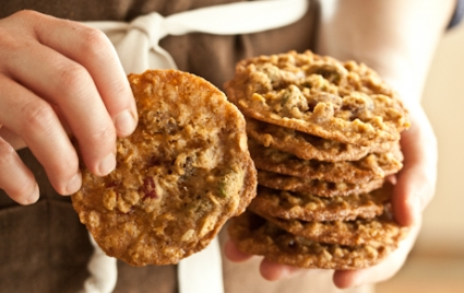 Cranberry-Pistachio Oatmeal Lace Cookies