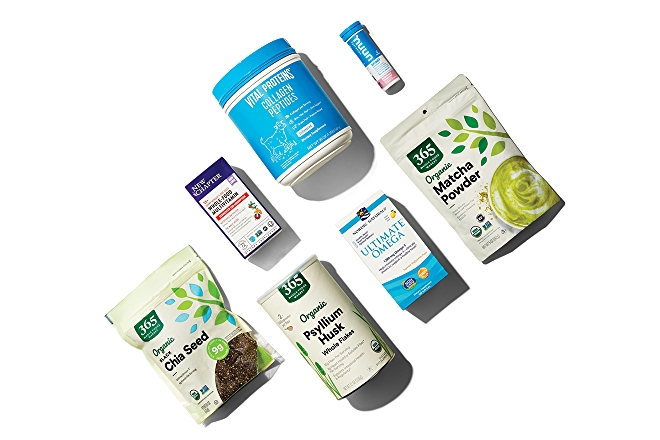group of supplements: chia seeds, matcha powder, collagen peptides