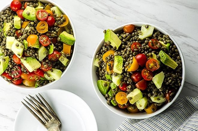 Vegan Lentil Avocado and Tomato Salad