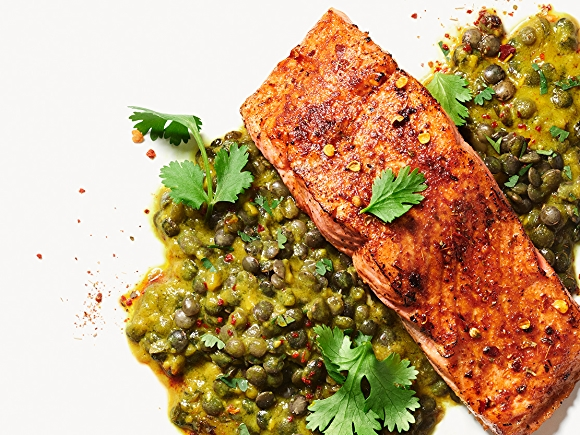 Indian Spiced Salmon With Lentils recipe