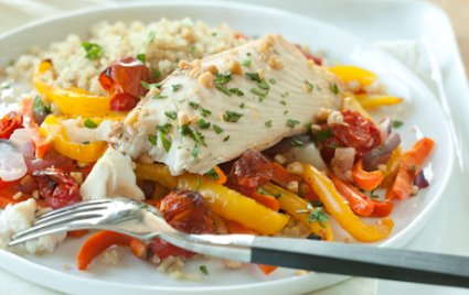 Roasted Fish and Veggies with Quinoa and Pine Nuts