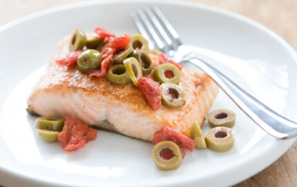 Salmon with Tomato-Olive Topping