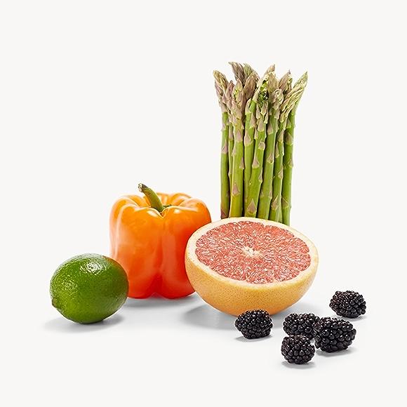 lime, bell pepper, grapefruit, asparagus, blackberry