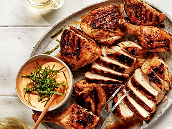 Grilled Chicken breast, thigh and legs with Harissa Yogurt Sauce