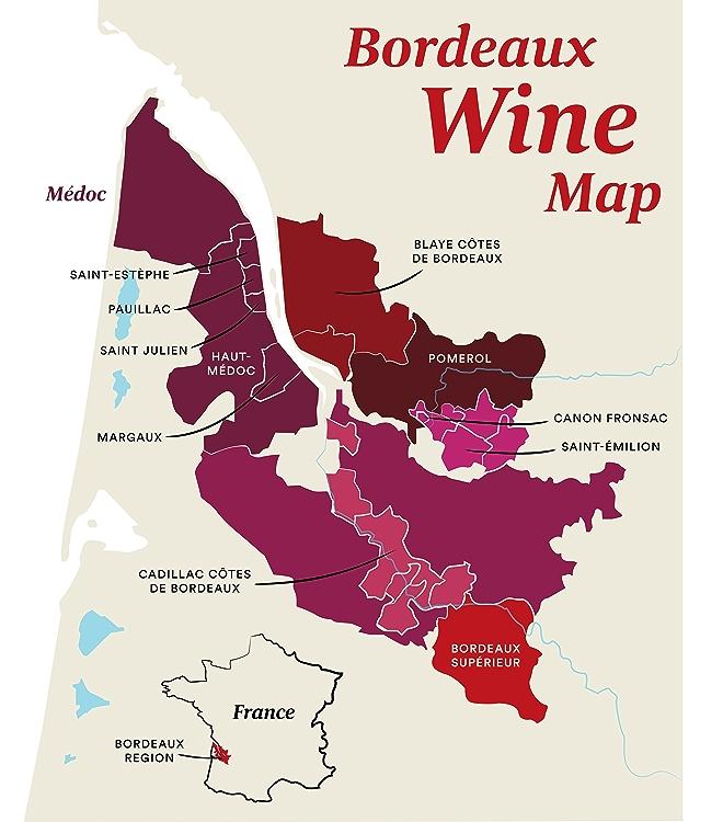 Map of Bordeaux Wine Regions in France