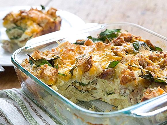 Savory Sausage and Cheddar Breakfast Casserole