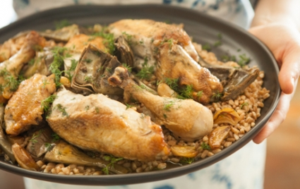 Chicken and Artichokes with Farro