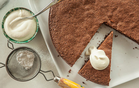 Chocolate-Almond Cake with Bay Whipped Cream