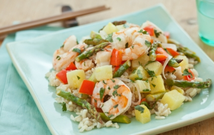 Shrimp and Pineapple over Coconut Rice