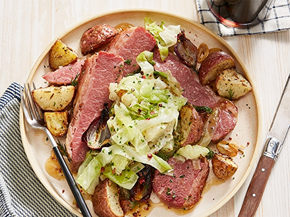corned beef and cabbage on plate