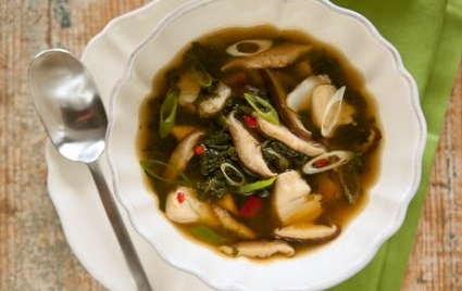 Hot-and-Sour Soup with Cod and Greens