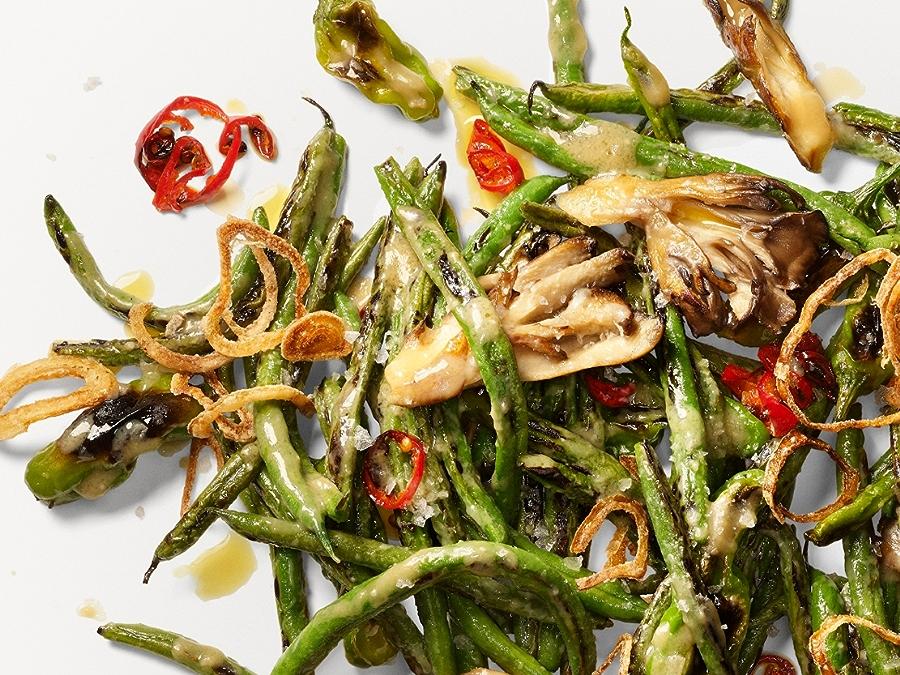 Recipe: Blistered Green Beans with Shishitos and Maitake Mushrooms