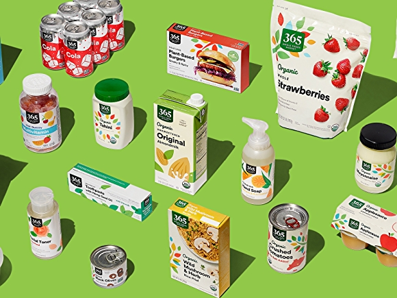 group of 365 by whole foods market products on green background