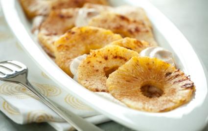 Cinnamon Roasted Pineapple with Macadamia Nut Cream