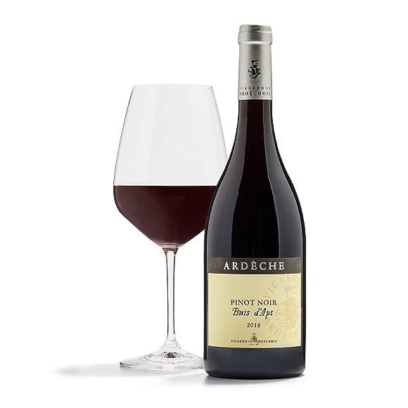 bottle of Ardèche Pinot Noir wine