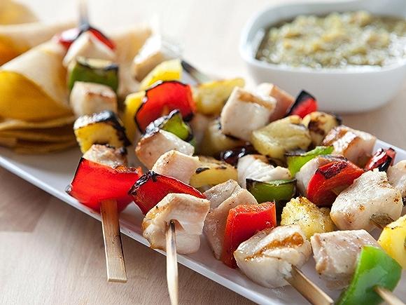 recipe: Mahi Mahi Pineapple Skewers with Tomatillo Salsa