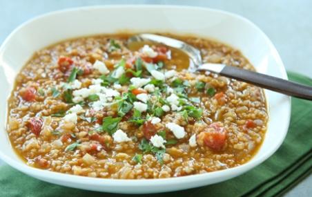 Tomato Bulgur Soup with Warm Spices