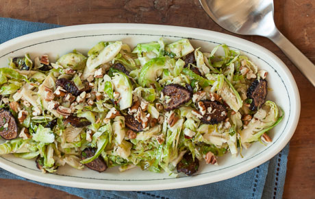 Warm Brussels Sprouts Slaw with Dried Figs