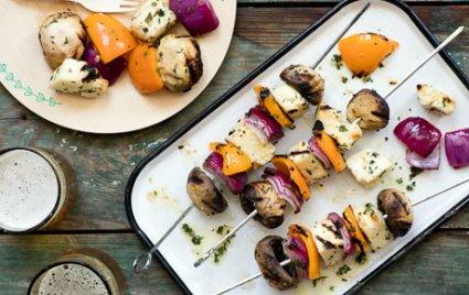 Marinated Halloumi Cheese Kabobs with Herbs