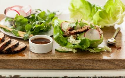 Grilled Teriyaki Pork Lettuce Wraps
