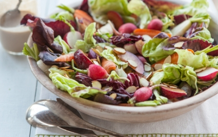 Red Leaf Salad with Plums and Roasted Onion Dressing
