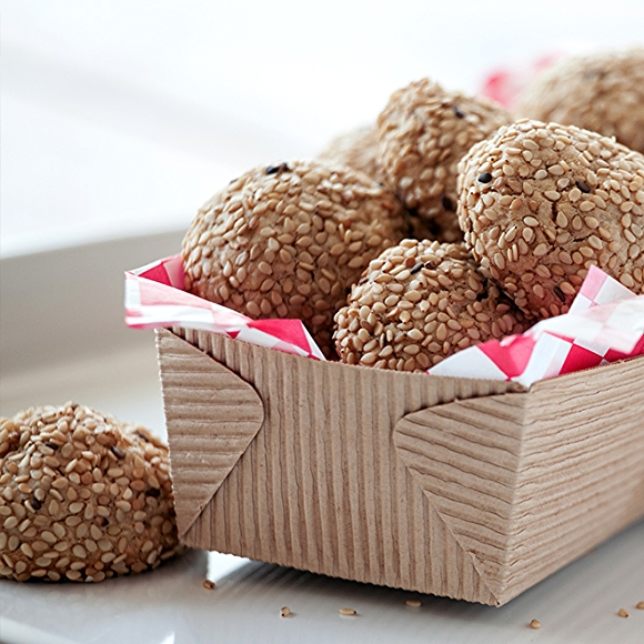 Tahini Oat Cookies in basket