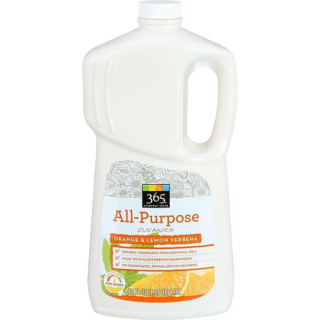 365 Everyday Value All-Purpose Cleaner, Orange and lemon verbena, front of bottle