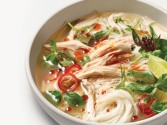 Bowl of Turkey Pho Soup with Noodles and Veggies