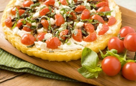 Polenta Tart with Tomatoes and Goat Cheese Recipe