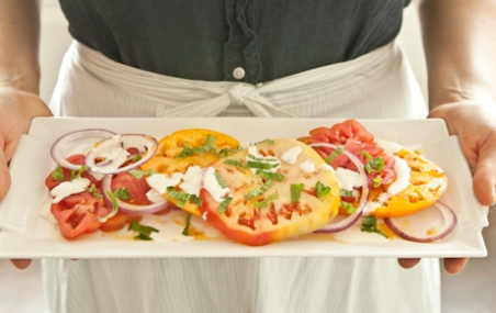 Heirloom Tomato and Basil Salad with Buttermilk Dressing