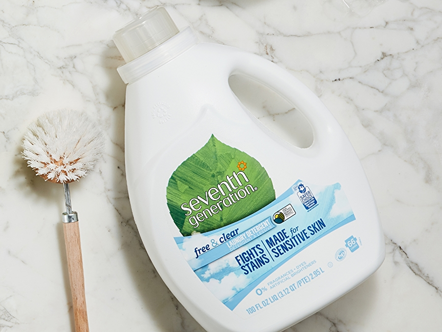 seventh generation laundry detergent on white background with green leaf