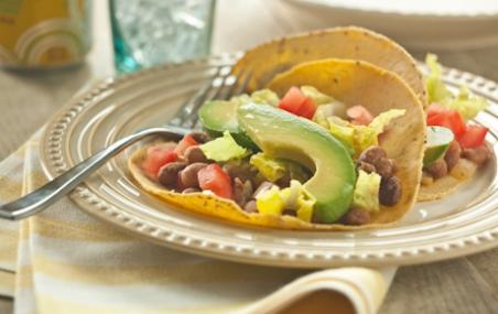 Refried Bean and Avocado Soft Tacos